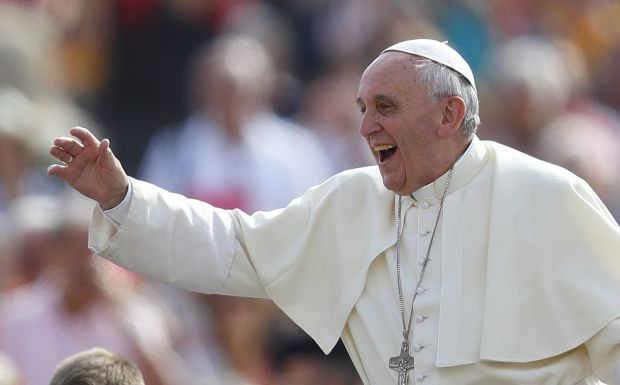 Pope arrives to lead general audience in St. Peter's Square at Vatican